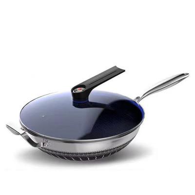 32cm雙面加厚不銹鋼藍鑽微壓蓋蜂窩不沾鍋