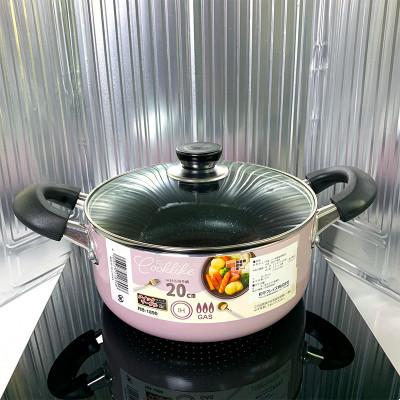不粘鍋櫻花紫麥飯石紋家用天燃氣電磁爐鍋
